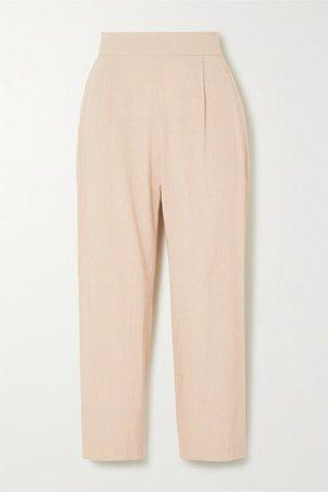 Luela Cropped Linen-blend Tapered Pants - Beige