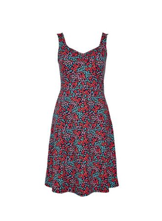 Multi Colour Ditsy Print Ruched Fit and Flare Dress | Dorothy Perkins