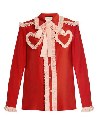 Red and Pink Gucci Ruffle Heart Blouse