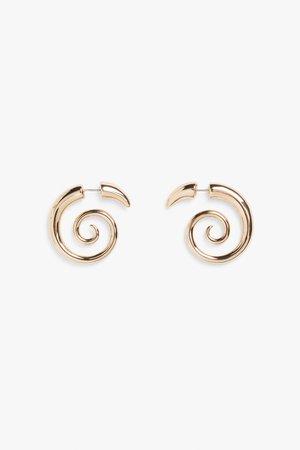 Coil gold metal earrings - Gold metal - Earrings - Monki WW
