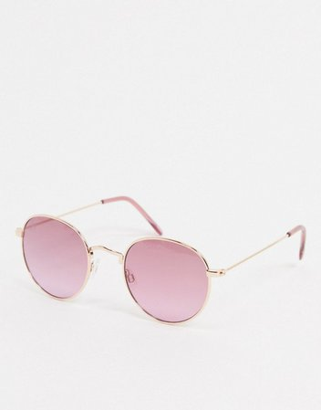 Jeepers Peepers round sunglasses with pink lens | ASOS