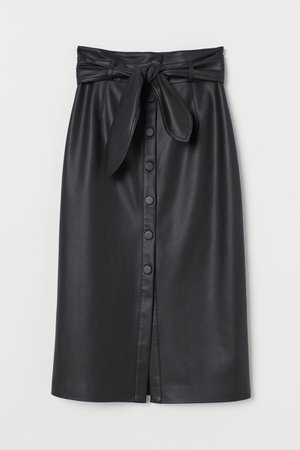 Imitation leather skirt - Black - Ladies   H&M GB