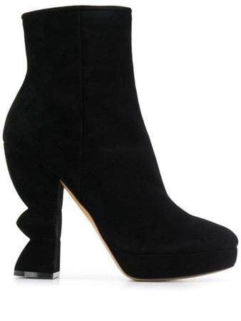 Black Salvatore Ferragamo sculptural heel boots - Farfetch