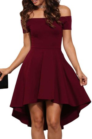 Burgundy Off Shoulder High Low Cocktail Party Dress