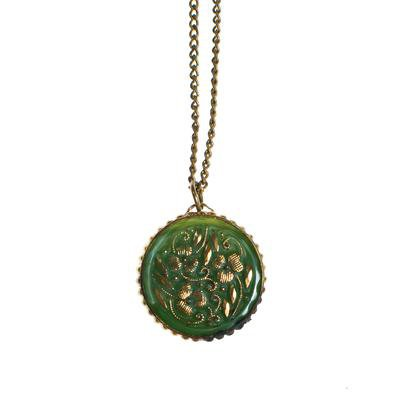 Vintage Green Pressed Glass Pendant With Gold Accents set in Antique G - Vintage Meet Modern