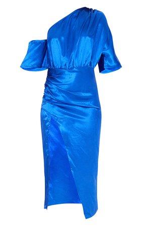 Colbalt Satin One Shoulder Ruched Skirt Midi Dress | PrettyLittleThing USA