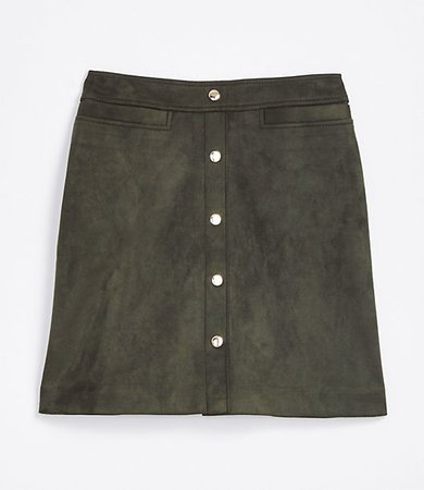 Tall Faux Suede Snap Shift Skirt