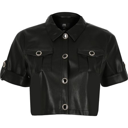 Petite black faux leather cropped shirt | River Island