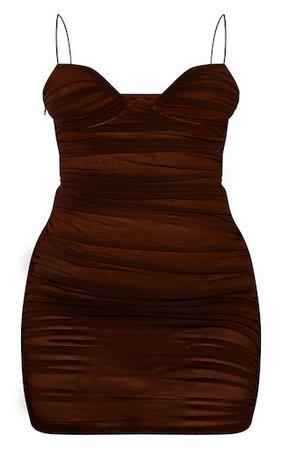 Brown Ruched Mesh Underwire Bodycon Dress | PrettyLittleThing USA