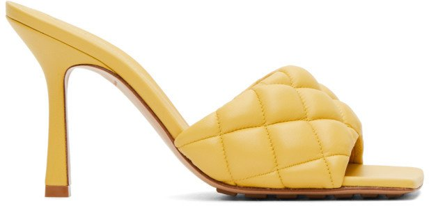 Yellow Padded Heeled Sandals