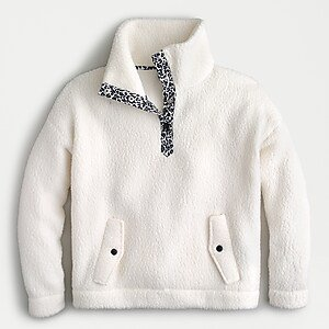 J.Crew: Snap Collar Sherpa Sweatshirt In Polartec® Fleece