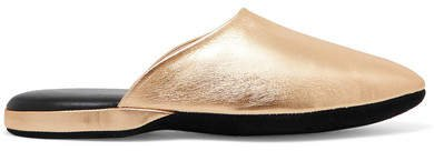 Metallic Textured-leather Slippers - Gold