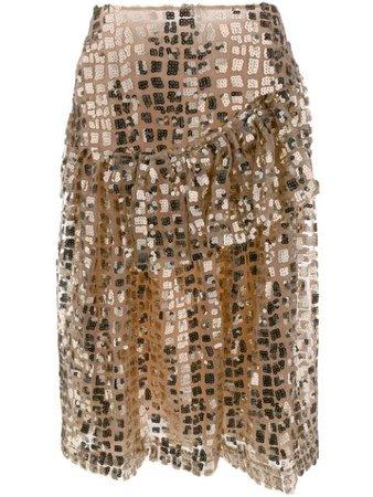 Simone Rocha Ruffled Sequin Skirt 33460326 Gold | Farfetch