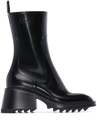 Black Chloé Betty 50mm Rain Boots | Farfetch.com