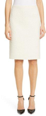 Wool Blend Boucle Pencil Skirt