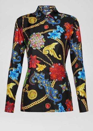 Versace Gioielleria Jetes Print Silk Shirt
