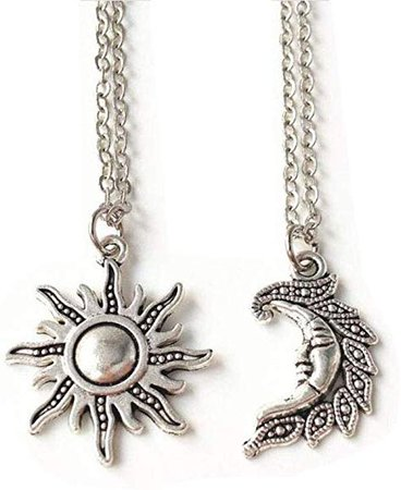 Amazon.com: Sun and Moon Set, set of 2, Best Friends, sun and Moon Necklace Set, friendship, Wiccan, sun and Moon Jewelry: Jewelry