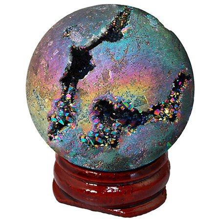 Amazon.com: SUNYIK Rainbow Titanium Coated Druzy Geode Sphere Ball,Crystal Quartz Agate Gemstone Ball,Sculpture Figurine Healing: Home & Kitchen