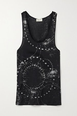 Glittered Cotton-jersey Tank - Black