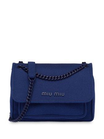 Shop blue Miu Miu Hemp shoulder bag with Express Delivery - Farfetch