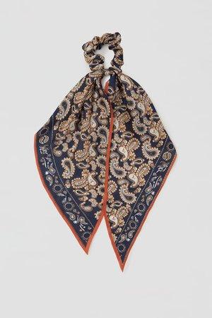 Paisley print scarf-style scrunchie