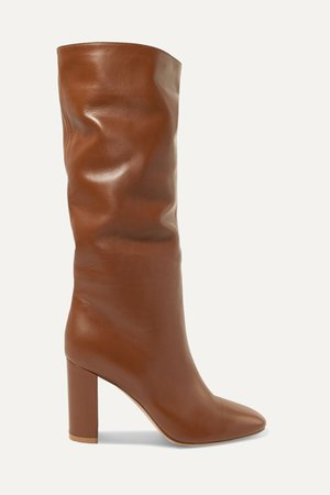 Tan Laura 85 leather knee boots   Gianvito Rossi   NET-A-PORTER