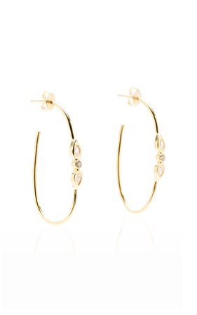 Jacquie Aiche 14K Yellow Gold And Diamond Oval Hoops
