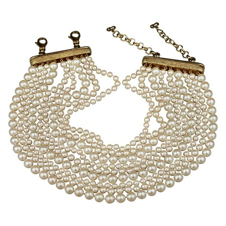 Vintage CHRISTIAN DIOR 9 Strand Pearl Choker Necklace For Sale at 1stDibs