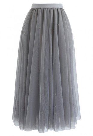 Beads Embellishment Tulle Mesh Skirt in Grey - NEW ARRIVALS - Retro, Indie and Unique Fashion