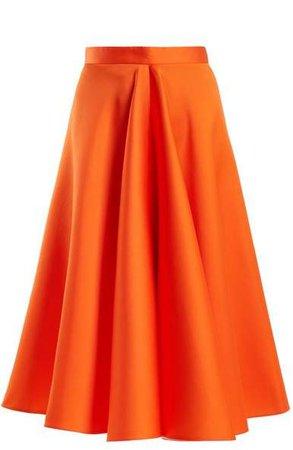 High Waisted Satin Full Skirt - Womens - Orange