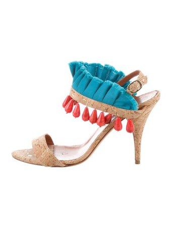 Oscar de la Renta Embellished Sandals - Shoes - OSC76430 | The RealReal