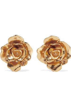 Oscar de la Renta   Rosette gold-tone clip earrings   NET-A-PORTER.COM