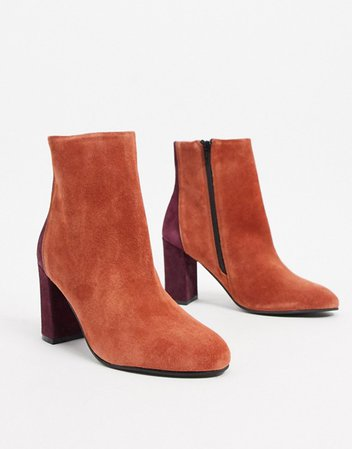 ASOS DESIGN Resilient leather heeled boots in rust   ASOS