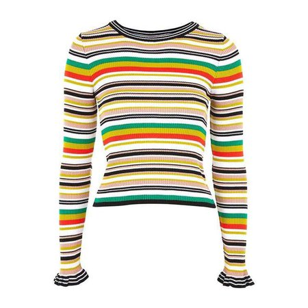 Hyper Stripe Knitted Crop Jumper