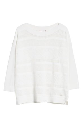 Tommy Hilfiger Pointelle Boatneck Sweater   white