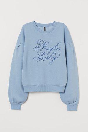 Camisola sweat mangas tufadas - Azul claro/Maybe Baby - SENHORA   H&M PT