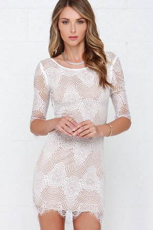 Ivory Lace Dress - Bodycon Dress - White Dress - $42.00