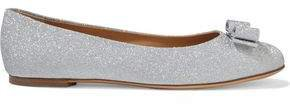 Bow-embellished Glittered Leather Ballet Flats