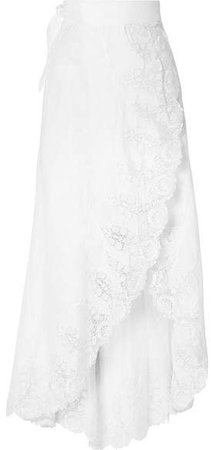 Clarice Guipure Lace-trimmed Linen Wrap Skirt - White