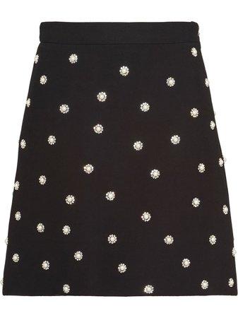Miu Miu Cady Pearl-Embellished Skirt MG13481DDD Black | Farfetch