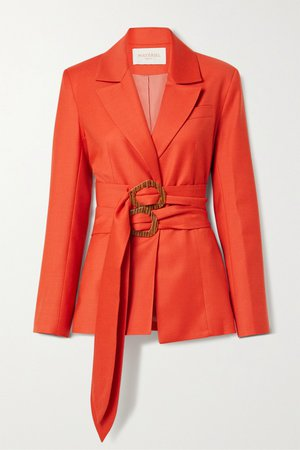 Tomato red Belted wool-blend twill blazer   MATERIEL   NET-A-PORTER