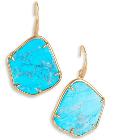 Lucky Brand Gold-Tone Turquoise-Look Stone Drop Earrings & Reviews - Earrings - Jewelry & Watches - Macy's