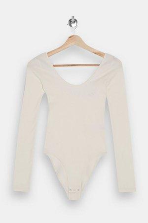 Ivory Long Sleeve Scoop Bodysuit | Topshop
