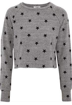 Brushed Roos Cropped Printed Stretch-jersey Sweatshirt