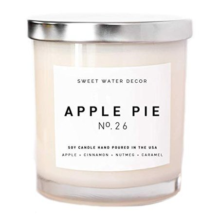 Amazon.com: Apple Pie Natural Soy Wax Candle White Jar Silver Lid Scented Pumpkin Clove Cinnamon Nutmeg Ginger Fall Cotton Wick Autumn Decor Rustic Country Modern Farmhouse Decor Made in USA Lead and Gluten Free: Sweet Water Decor