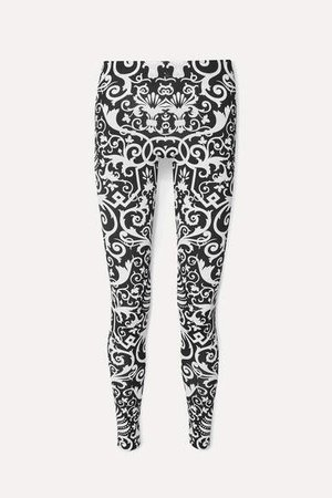 Printed Stretch-jersey Leggings - Black
