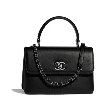 Calfskin & Ruthenium-Finish Metal Black Small Flap Bag with Top Handle | CHANEL