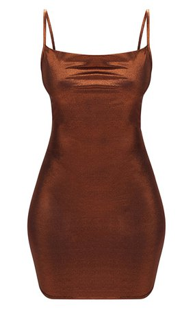 *clipped by @luci-her* Bronze Metallic Cowl Neck Strappy Bodycon Dress   PrettyLittleThing USA