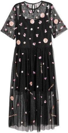 Sequined Mesh Dress - Black