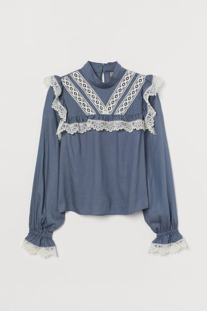Lace-trimmed Blouse - Blue
